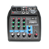 6W Portable Bluetooth Sound Card 4 Channel Mixing Console Home Mini USB Mixer avec UK US Plug