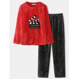 Dames Flanellen Cartoon Kat Patroon Trui Elastische Taille Broek Thuis Pyjama Set