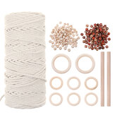 Natural Macrame Cord 3mm Cotton Cord with 8pcs Wood Ring and 2 Wooden Stick for DIY Craft Braided Wire