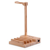 Wooden Headphone Stand Headset Hanger Mobile Phone Tablet Stand Holder with Universal USB Charging Ports USB Charger