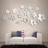 3D Plum Blossom Plata DIY Forma Espejo Wall Stickers Casa Pared Dormitorio Oficina Decoración