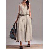 Women Sleeveless V Neck Cotton Wide Leg Jumpsuits