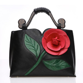 Women National Style Flower Decoration PU Leather Handbag Crossbody Bag