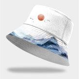 Unisex Baumwolle Mode Herbst Landschaft Chinesische Tuschemalerei Sonne Hut Outdoor Sonnenschirm Eimer Hut für Männer