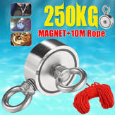 Double Side 60mm 250KG Neodymium Recovery Magnet with 10m Rope Salvage Tool Strong Recovery Fishing Kits