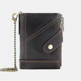 Herren Echtes Leder Multi-Slot Retro Business Fashion Leder Kartenhalter Brieftasche Mit Kette