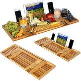 Bandeja de Caddy de banheira de bambu com suporte para leitura / suporte para tablet / bandeja para celular / suporte para copo de vinho