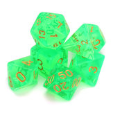 Polyhedral Dice with Bag Light Green 7 Piece Set DnD RPG
