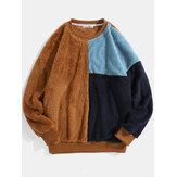Suéter de pelúcia retalhos de bloco colorido masculino macio de pelúcia solto