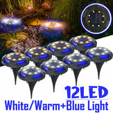 12LED Solar Ground Light Blue+White/Blue+Warm White Pathway Patio Garden Lawn Lamp Outdoor Decking Lighting