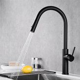 Matte Black Kitchen Sink Faucet Brass Single Lever Pull Out Spring Spout Mixers Tap Hot Cold Water