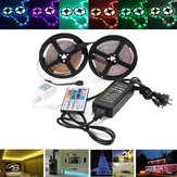 10M 600 LED SMD3528 RGB Color Changing LED Flexible Strip Light Kit + IR Controller + Adapter DC12V
