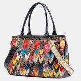 Femmes en cuir véritable patchwork fourre-tout sac à bandoulière sac à main