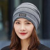 قبعة نسائية قطنية متناسقة من كلور مخططة ومختبر دافئة كاجوال للخارج بدون حواف