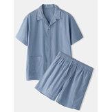 Camisas de manga corta transpirables sueltas de lino de algodón de color sólido para hombre liso y acogedor