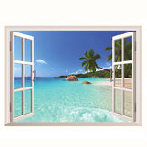 3D Hawaii Holiday Seaview Beach Venster Bekijk Decal Wall Sticker