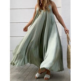 Solid Color Spaghetti Sleeveless Loose Swing Casual Maxi Dress