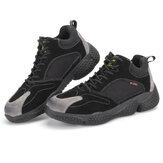 AtreGo Mens Camurça Couro Sapatos de Trabalho Toe de Aço Anti-punctura Escalada Sapatos de Segurança