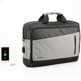 KINGSONS 13.3/15.6 inches Men Nylon External USB Charging Handbag Shoulder Bag Laptop Bag