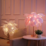 Feather Shade Table Lamp LED Night Light Bedside Desk Retro Decor Remote Control