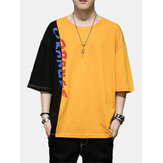 Mens Fashion Color Block 100% Cotton Crew Cuello Letras Camisetas casuales