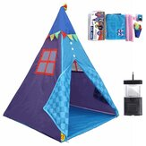 4.3ft Kids Play Tent with Camping Lamp Pretend Playhouse Indoor Outdoor Indian Teepee Play Tent Kids Adventure Hut w/ Carrying Bag