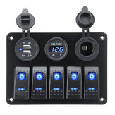 5 Gang On-Off Blue LED Painel de interruptor de alavanca Voltímetro Dual USB Car Boat Marine