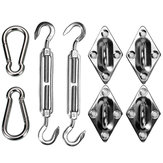8pcs Stainless Steel Sun Sail Shade Canopy Fixing Fittings Padeye Turnbuckle Snap Hook