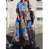 Women Color Printing Lapel Casual Loose Lapel Shirt Maxi Dress With Side Pockets