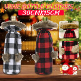 Christmas Sweater Winee Bottle Clothes Collar & Button Coat Design Decorative Bottle Sleeve Winee Bottle Sweater For Christmas Gifts Xmas Party Decorations