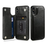 KISSCASE Retro PU Læder Card Slots Bracket Case til iPhone X 8/8 Plus/7/7 Plus/6 / 6s / 6 Plus / 6s Plus