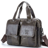Bullcaptain Cow Leather Retro Handbag Leisure Briefcase