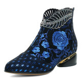 Women Comfy Soft Leather Embroidered Flowers Rhinestone Chunky Heel Ankle Boots
