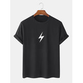 5 Colors Lightning Print 100% Cotton Breathable Round Neck Short Sleeve T-Shirts