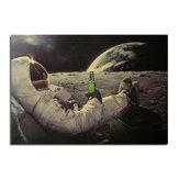 Astronotlar ve Cola Poster Kraft Kağıt Duvar Posteri DIY Duvar Sanatı 21 inç X 14 inç