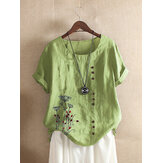 Women Vintage Floral Embroidery Short Sleeve Casual T-shirts