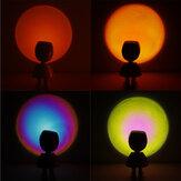 مصباح إسقاط رينبو صن ست USB شحن دوران 360 درجة LED غرفة نوم بصرية رومانسية محيط ضوء حامل أرضي حديث ليلي ضوء للتعارف المنزلي التصوير الفوتوغرافي ب