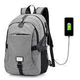 Men Nylon Large Capacity Laptop Backpack Travel Bag with USB Charging Port