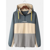 Mens Cotton Colorblock Patchwork Front Zipper Loose Fit Casual Drawstring Hoodies