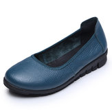 SOCOFY Pure Color Comfortable Soft Flats Shoes