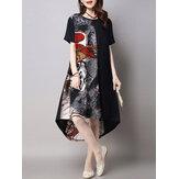 Vestido de retalho impresso no vintage