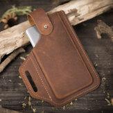 E Ekphero Men EDC Genuine Leather 6.5 Inch Phone Holder Waist Belt Bag