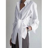 Einfarbige Wickel-Revers-Langarm-Freizeithemden für Damen