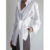 Camisas casuales de manga larga con solapa de color sólido para Mujer