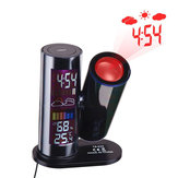 TS-E03 LCD Digitale projectie Weer Datum Temperatuur Vochtigheidsmeter 360 ° Draaibare LED Wekker Digitale thermometer