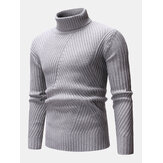 Mens High Neck Twisted Knitted Solid Color Warm Regular Fit Casual Sweater