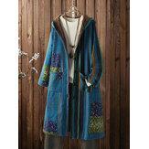 Винтажные флисовые толстые флисовые пальто с цветочным принтом и длинными рукавами размера Plus с капюшоном