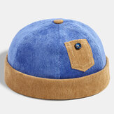 Banggood Design Men Corduroy Contrast Color Casual Brief Small Pocket Decoration Keep Warm Brimless Beanie Landlord Cap Skull Cap