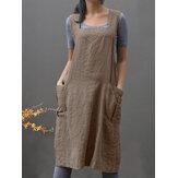 Mulheres sem mangas bolsos laterais algodão solto cor sólida vestido avental vintage