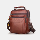 Men Genuine Leather Multi-pocket Multifunction Crossbody Bag Handbag Sling Bag